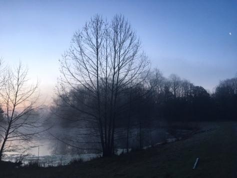 Foggy morning slim moon
